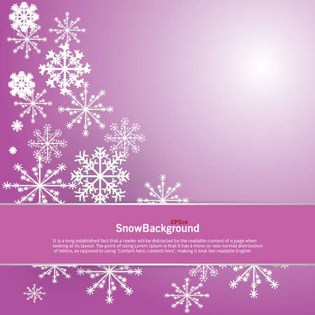 Winter background design of white snowflake with copy space