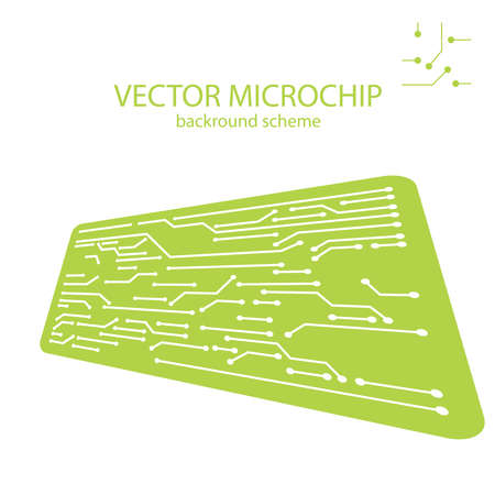 Vector Microchip background. Computer electronic elements. Integrated computing illustration