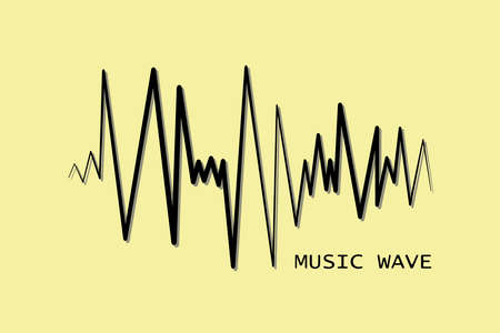 Black pulse music player. Audio wave logo. Vector equalizer element. Isolated design symbol.