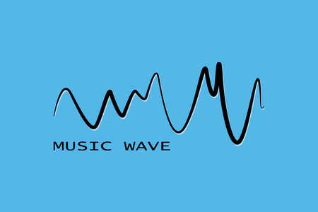 Black sound wave symbol. Pulse music player. Isolated design audio logo. Vector equalizer element.