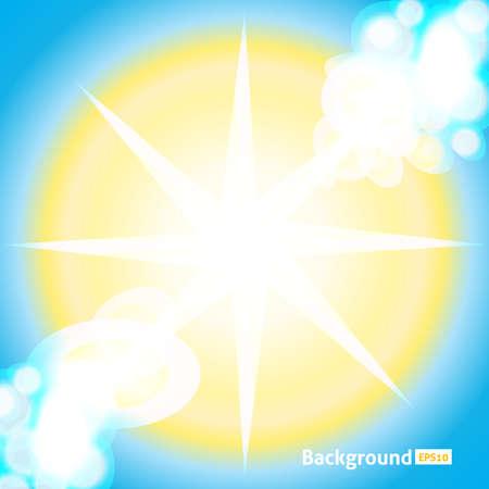 Sole luminoso. Illustrazione di sole vettoriale. Raggi di sfondo