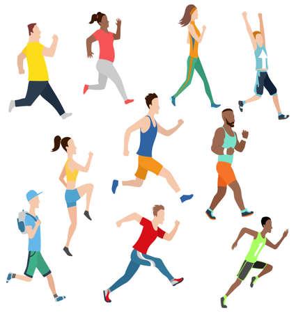 Vector running man and women in flat design style. Sport. Run. Active fitness Vektorgrafik
