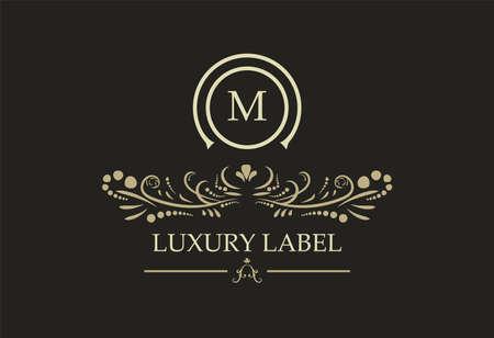 Logotipo di scudo vintage retrò reale. Calligrafia vettorialec Elementi di design del logo di lusso