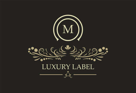 Logotype De Bouclier Royal Vintage Rétro. Éléments de conception de logo de luxe calligraphie vectorielle