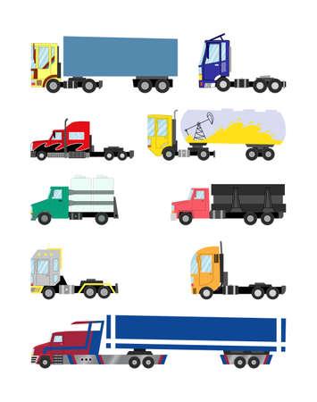 Bunte Trucks und Anhänger auf weißem Hintergrund