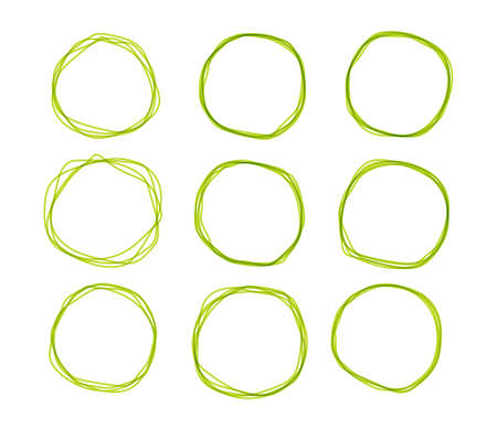 Green doodle sketched circles. Hand drawn scribble rings isolated set