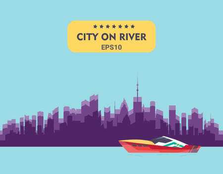 Ships at river, shipping boat, ocean transport vector. Illustration of city buildings silhouettes and colors.