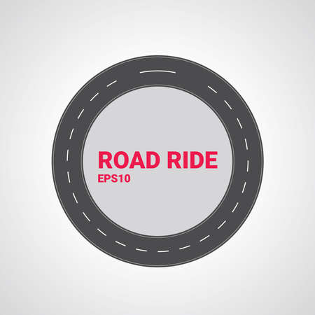 Vector road type. Set of different road marking. Round straight asphalt roads.
