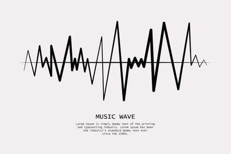 Music wave player logo. Black equalizer element. Isolated design symbol. Vector Illustration Standard-Bild - 124409904