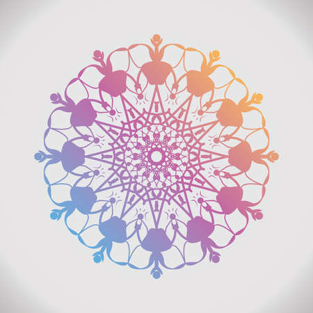 Round gradient mandala on white isolated background. Floral round decorative symbol. Vintage decorative elements. Oriental pattern, . Coloring book page. Circular pattern. Standard-Bild - 124409909
