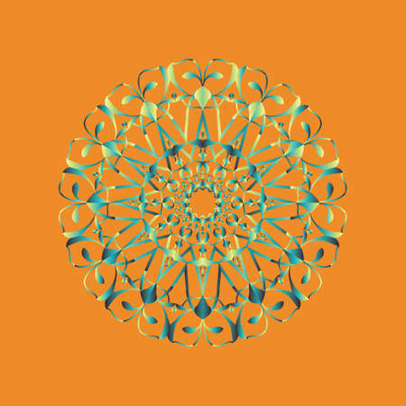 Floral round decorative symbol. Vintage decorative elements. Coloring book page. Circular pattern. Abstract background Standard-Bild - 124409912