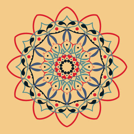 Floral round decorative symbol. Ethnic decorative elements. Oriental pattern. Coloring book page. Abstract background Standard-Bild - 124409913