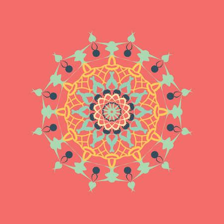 Floral round decorative symbol. Vintage decorative elements. Oriental pattern illustration. Coloring book page. Circular Abstract background Standard-Bild - 124409914