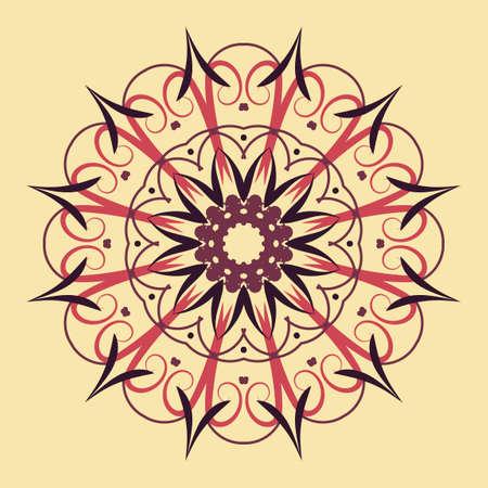 Floral round decorative symbol. Ethnic decorative elements. Coloring book page. Circular pattern. Abstract background. Orante vintage color shape. Retro design Standard-Bild - 124409916