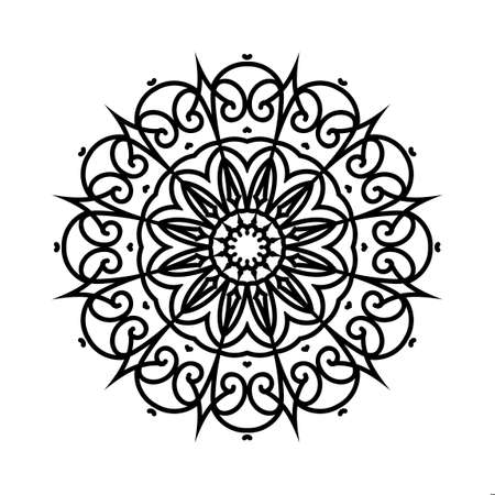 Floral round decorative symbol. Ethnic decorative elements. Oriental pattern, illustration. Black and white book page. Circular pattern. Abstract background. Orante vintage shape. Retro design Standard-Bild - 124409917