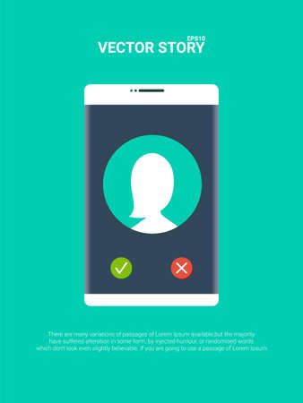 Smartphone or mobile phone ringing vector illustration, flat cartoon cellphone call or vibrate with contact info on display, ring of phone icon Standard-Bild - 124410048