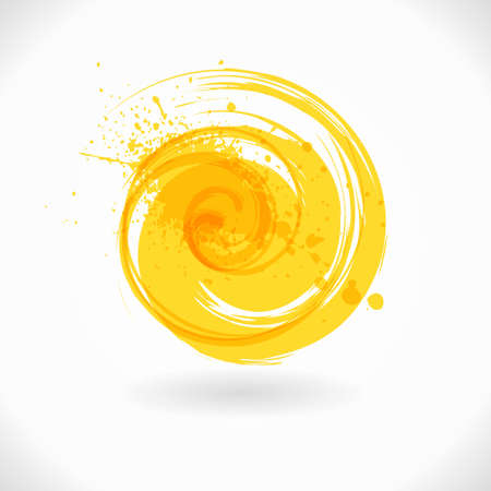 Yellow grunge Circle shape. Abstract color Curl Symbol