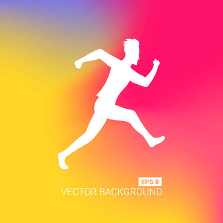 Abstract blurred gradient mesh background. Colorful smooth banner template. Easy editable soft colored vector illustration. Running marathon people run colorful poster. Vector illustration.