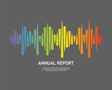 Rainbow Pulse music player. Audio colorful wave logo on grey background
