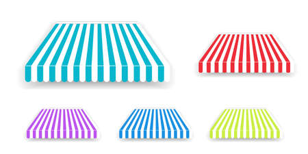 Tent sunshade for window, colored striped roof isolated. Realistic shop awning tents set. Outdoor market canopy roof for cafe, store front and shop. 写真素材