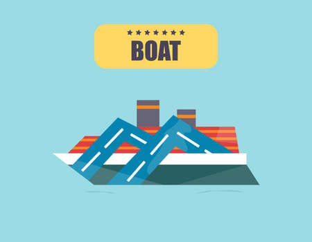Ships at sea, shipping boats, ocean transport illustration