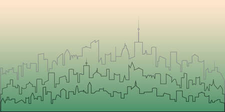 Outline of the city. Contour vector illustration of modern city residential area. Stock Illustratie