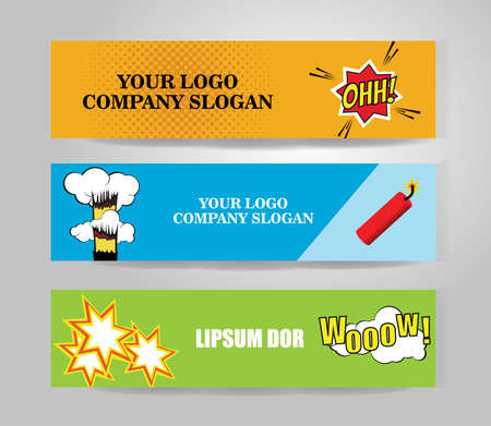 Vector comic Banners. Color isolated sample paper