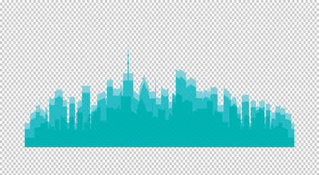 Set of vector cities silhouette. Night town on transparent background. Turquoise
