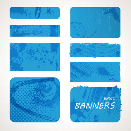 Grunge vector banners. Set of blue pop art elements