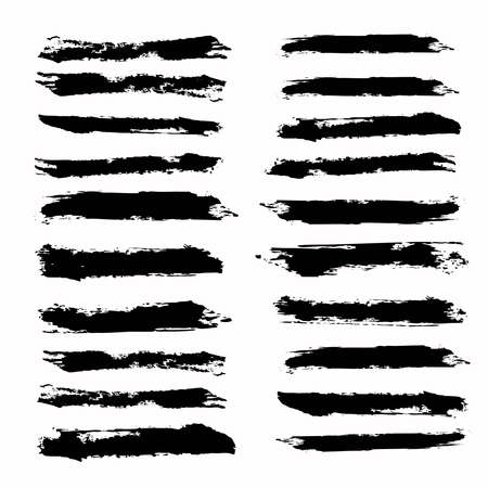 Brush strokes template. Collection black sketch stain Illustration