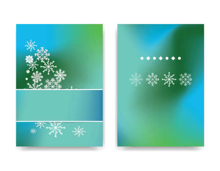 Winter background design of white snowflake with copy space. Snowfall frozen poster. Color background baner. Illustration Stockfoto