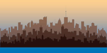 Horizontal city landscape. Brown silhouettes of buildings. Illustration of modern city residential area.