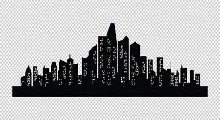 Set of cities silhouette with windows. Night town on transparent background. Illustration