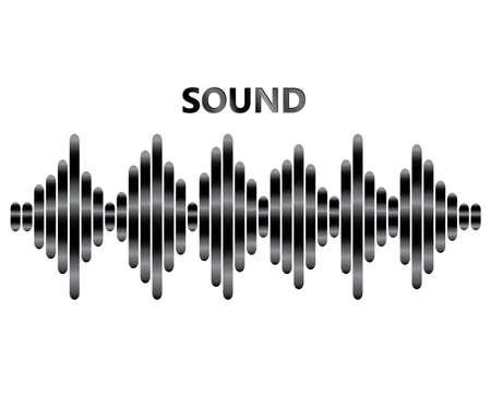 Poster del lettore musicale a impulsi. Onda metallica audio su sfondo bianco