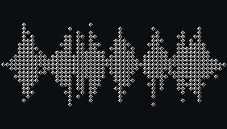 Silver pulse music player banner. Audio monochrome mosaic wave   on black background Ilustração