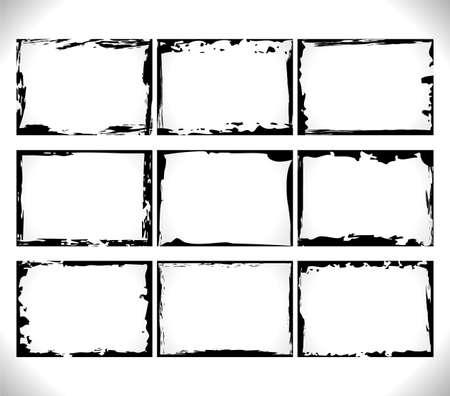Set of horizontal Black blank Grunge Frames Collection on white. Vector Template Design Illustrations