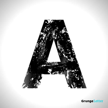 Grunge Letter A. Black Font Sketch Style Symbol. Vector Design Illusrations.
