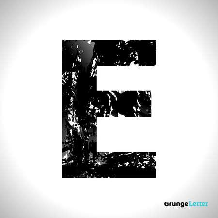 Grunge Letter E. Black Font Sketch Style Symbol. Vector Design Illusrations. 일러스트