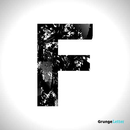 Grunge Letter F. Black Font Sketch Style Symbol. Vector Design Illusrations. 일러스트