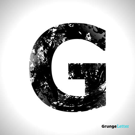 Grunge Letter G. Black Font Sketch Style Symbol. Vector Design Illusrations.