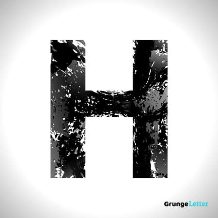 Grunge Letter H. Black Font Sketch Style Symbol. Vector Design Illusrations.