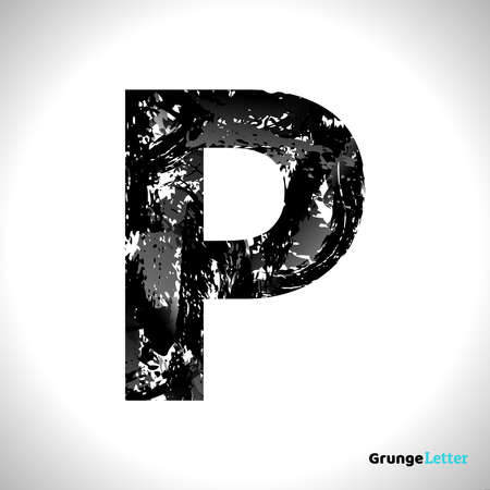 Grunge Letter P. Black Font Sketch Style Symbol. Vector Design Illusrations.