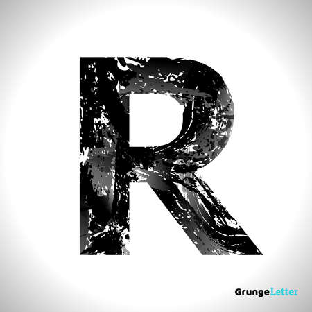 Grunge Letter R. Black Font Sketch Style Symbol. Vector Design Illusrations.