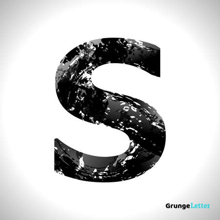 Grunge Letter S. Black Font Sketch Style Symbol. Vector Design Illusrations.