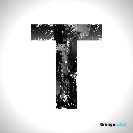 Grunge Letter T. Black Font Sketch Style Symbol. Vector Design Illusrations.