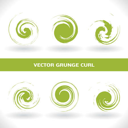Set of green grunge curl logo on white background. Abstract isolated elements for grunge design style. Swirl Vector Symbols. Ilustração