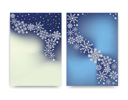 Abstract blurred gradient mesh background with white snowflakes with shadow. Winter Colorful smooth banner template cover of greeting card. Easy editable soft colored pattern vector illustration. Ilustrace