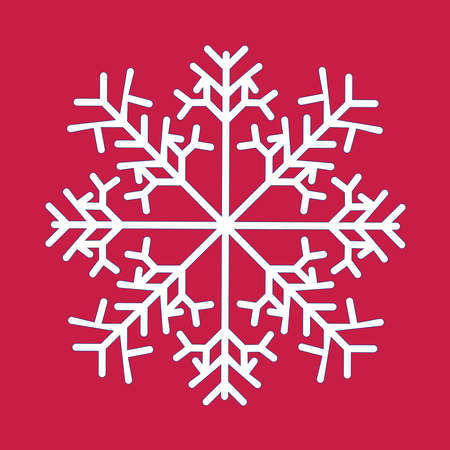 Snowflake isolated icon and sign design on red background. Snow winter vector line icon