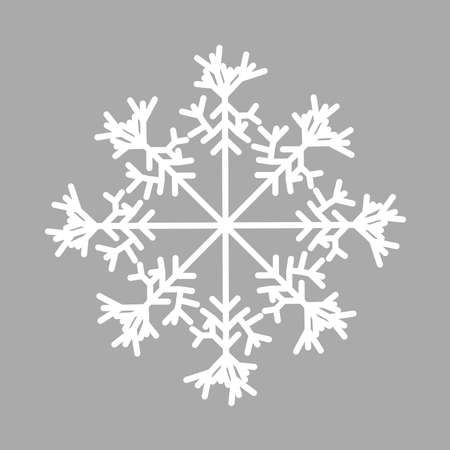 Snowflake isolated icon and sign design on red background. Snow freeze winter thin line outline white icon Reklamní fotografie