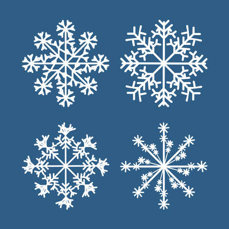 Winter snowflake set of white isolated icon silhouette on blue background. Design element